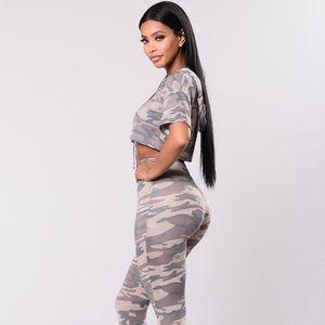Fashion Nova Camouflage Hooded Crop Top ❤️